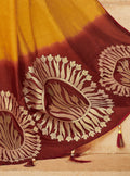Vanya Zari Woven Yellow Silk Saree with Maroon Designer Woven Blouse