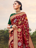 Vanya Zari Woven Dark Red Silk Saree with Green Designer Stone Work Blouse