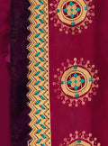 Vanya Stone Work Embroidered Women Woven Silk Saree Purple with Purple Embroidered Blouse Designer Saree