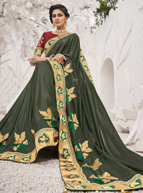 Vanya Zari Embroidered Women Woven Silk Saree Green with Red Embroidered Blouse Designer Saree