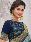 Vanya Zari Embroidered Women Woven Silk Saree Grey with Dark Blue Embroidered Blouse Designer Saree