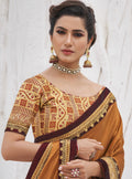 Vanya Zari Embroidered Women Woven Silk Saree Orange with Maroon Embroidered Blouse Designer Saree
