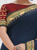 Vanya Zari Embroidered Women Woven Silk Saree Dark Blue with Red Embroidered Blouse Designer Saree