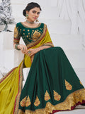 Vanya Zari Embroidered Women Woven Silk Saree Yellow with Green Embroidered Blouse Designer Saree