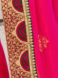 Vanya Stone Work Embroidered Women Woven Silk Saree Pink with Green Embroidered Blouse Designer Saree