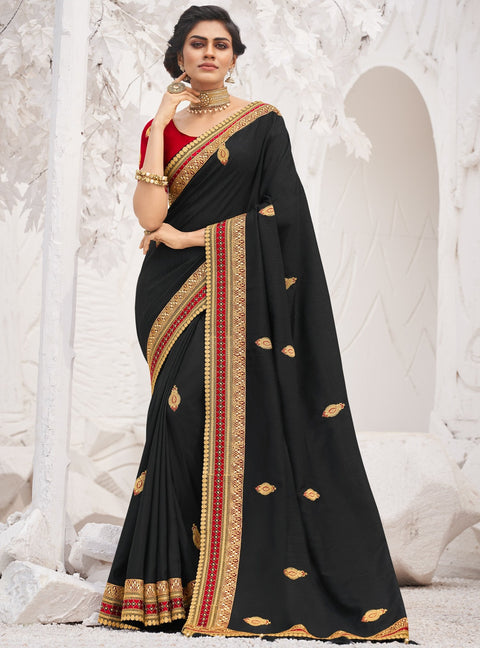 Vanya Zari Embroidered Women Woven Silk Saree Black with Maroon Embroidered Blouse Designer Saree