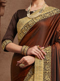 Coffee Brown Silk Saree with Brown Blouse - VANYA