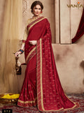 Brick Red Silk Saree with Tan Brown Blouse - VANYA