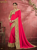 Utah Crimson Red Silk Saree with Desert Sand Blouse - VANYA