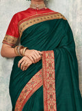 Dark Green Silk Saree with Contrast Crimson Red Designer Blouse - VANYA