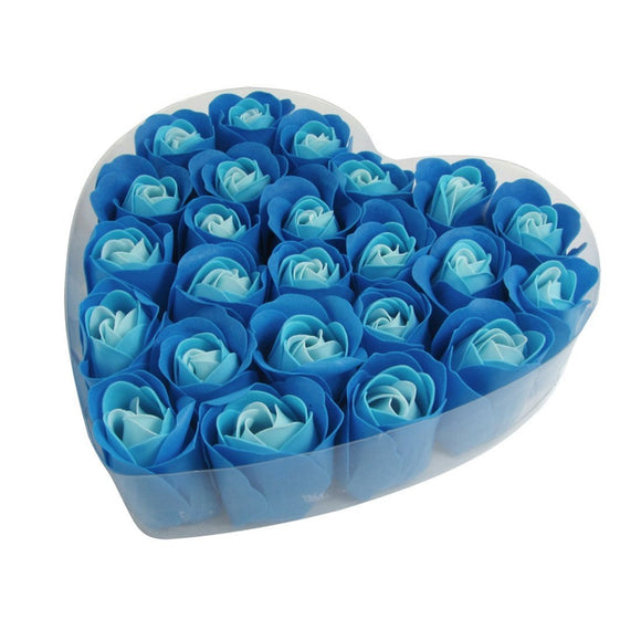 Blue Rose Petal Soap in Heart Box