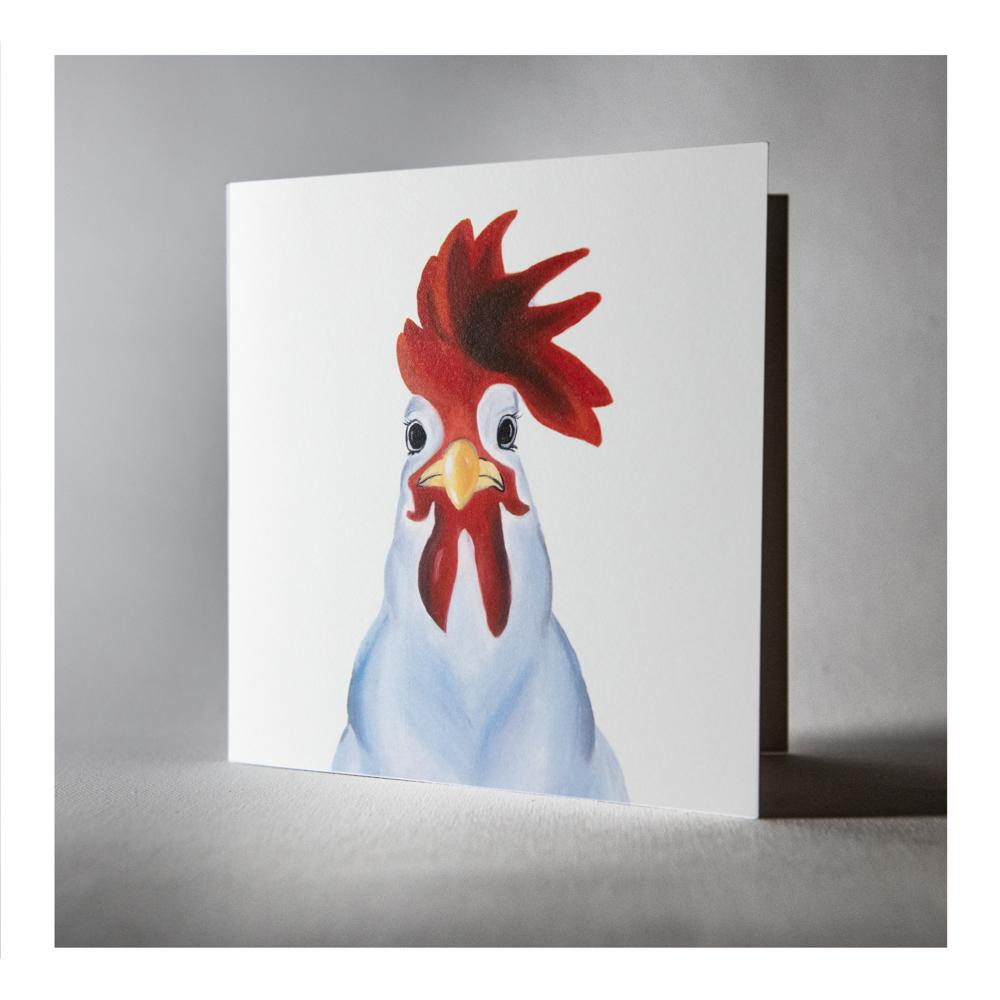 Collin the cockerel greeting card