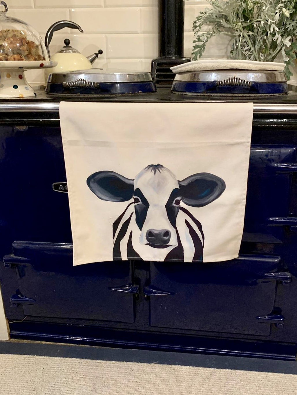 Camilla the Cow tea towel