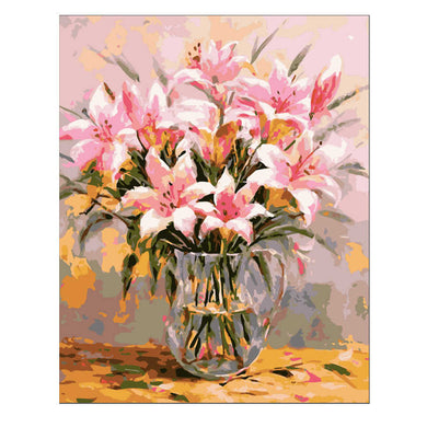 Pink Lily Painting By Numbers Flower Vase Oil Painting On Canvas Hand Painted