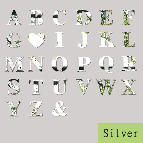 10cm 26 Letters Silver Mirror Wall Sticker Alphabet Decor
