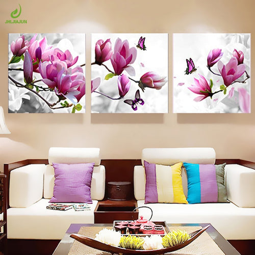 Canvas Print Painting Orchid Modern Flowers 3 Panel Wall Art