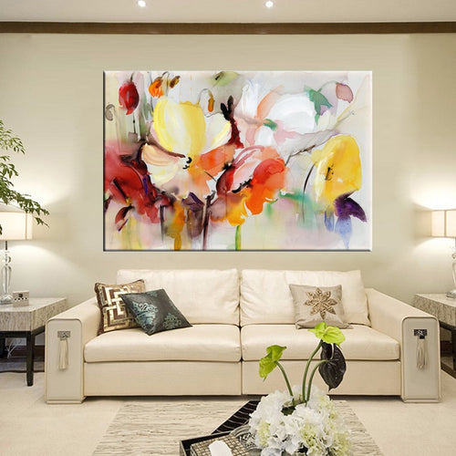 Modern Watercolor Flowers Wall Painting Hand Painted Poppy Flowers Print on Canvas