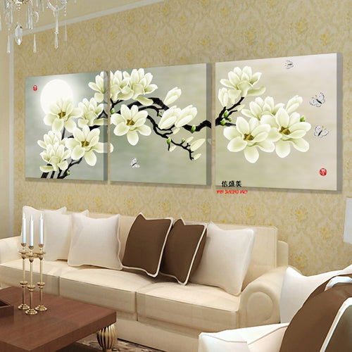 Modern 3 Panel Wall Art Canvas Painting Flower Home Decor No Frame