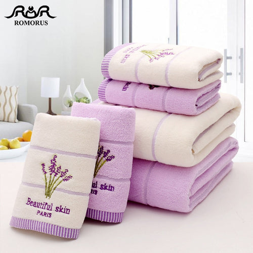 Purple Lavender Embroidered Towels High Quality Cotton Large Bath Towe