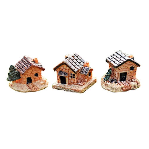 Figurine Mini Dollhouse Stone House Resin For Home  Mini Craft Cottage Landscape Decoration