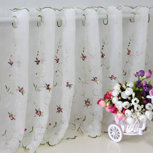 Short Curtain Three-dimensional Embroidery Rose Coffee Curtain