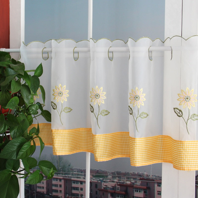 Pastoral Style Kitchen Curtain Embroidered Window Valance Curtain Customize Coffee Curtain for Decoration