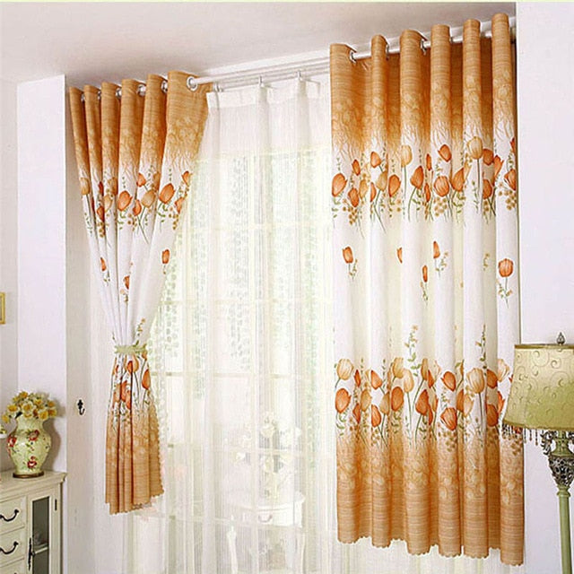 Tulip Flower Calico Cloth Window Screens Curtain Sheers Curtains