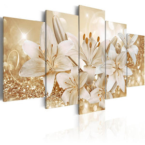 Canvas Prints Pictures Living Room Wall Art 5 Pieces Lilies Flowers Painting Framed