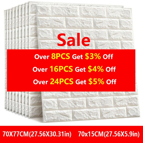 3D Wall Stickers Imitation Brick Bedroom Decor Waterproof Self-adhesive Wallpaper