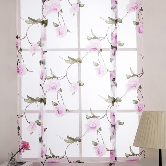 2018 1pcs Flower Branches Printed Tulle Curtains