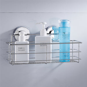 Bathroom Organizer Shower Wall Basket Shelf With Dual Strong Suction Cups