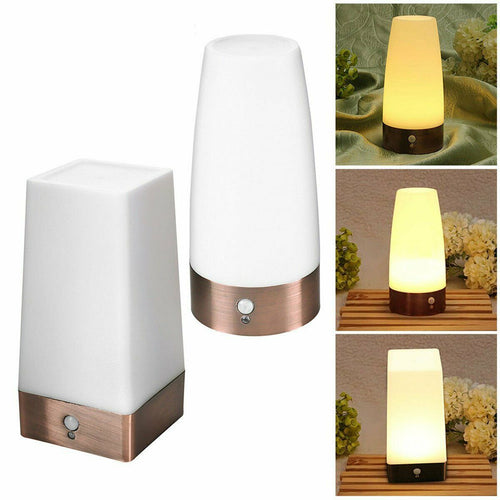 Wireless PIR Sensor Living Room Table Light LED Night Light Bedside Lamp Battery Powered Table Lamp Warm White XNC