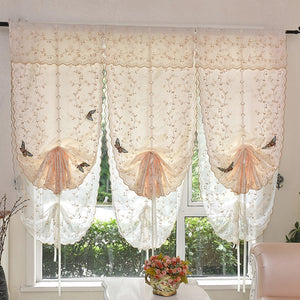 Embroidery Style Tie Up Window Curtain