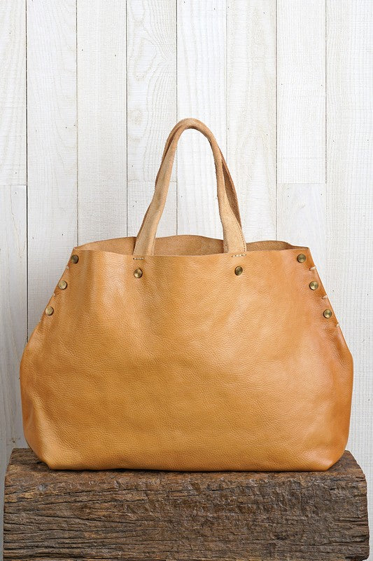 WHEAT GROVE LEATHER TOTE