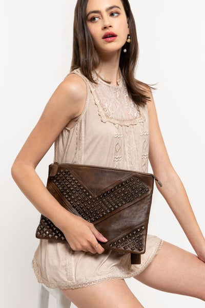 JANVIER STUDDED LEATHER CLUTCH