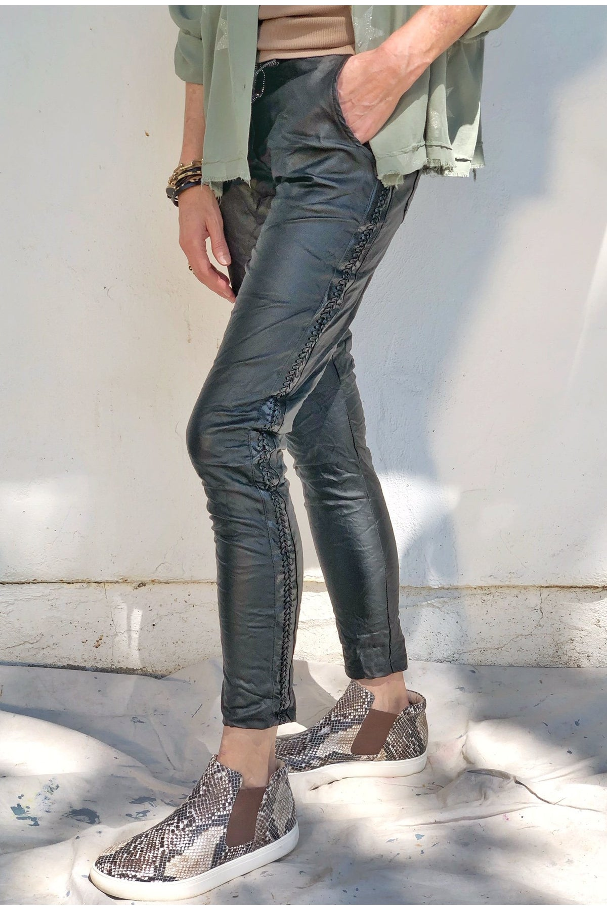 JUSTICE ECO LEATHER PANTS