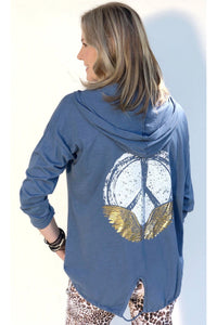 PEACE + LOVE  HOODED CARDIGAN