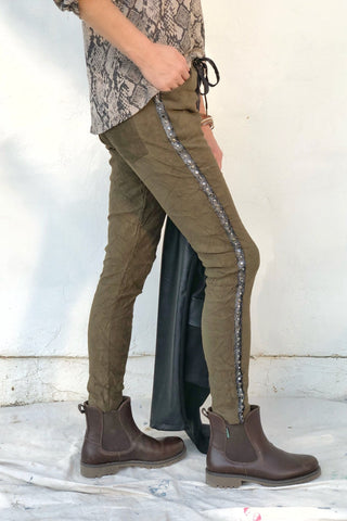 OLIVE SHIFT SUEDE JOGGERS