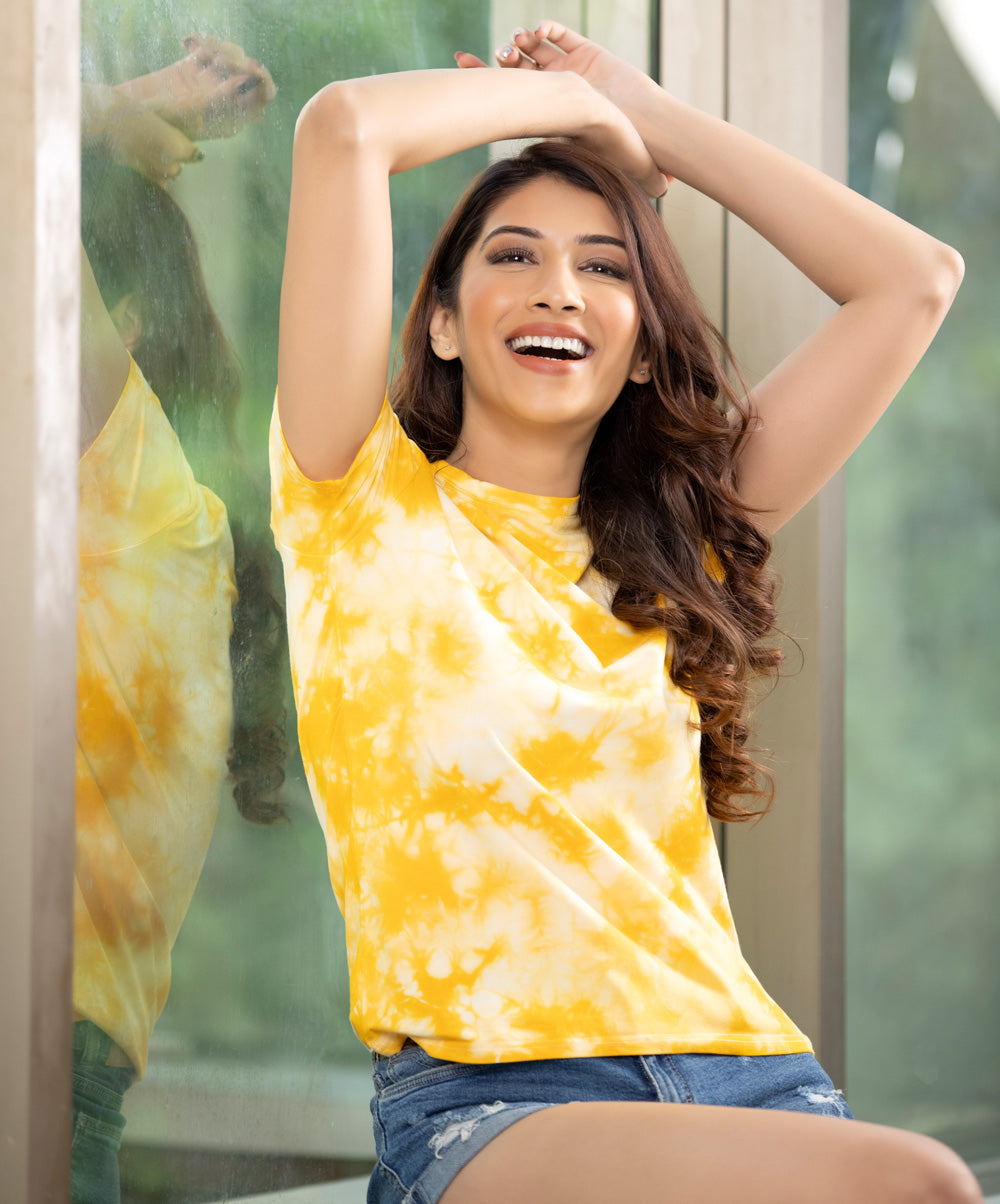 Yellow and White Tie and Dye T-Shirt