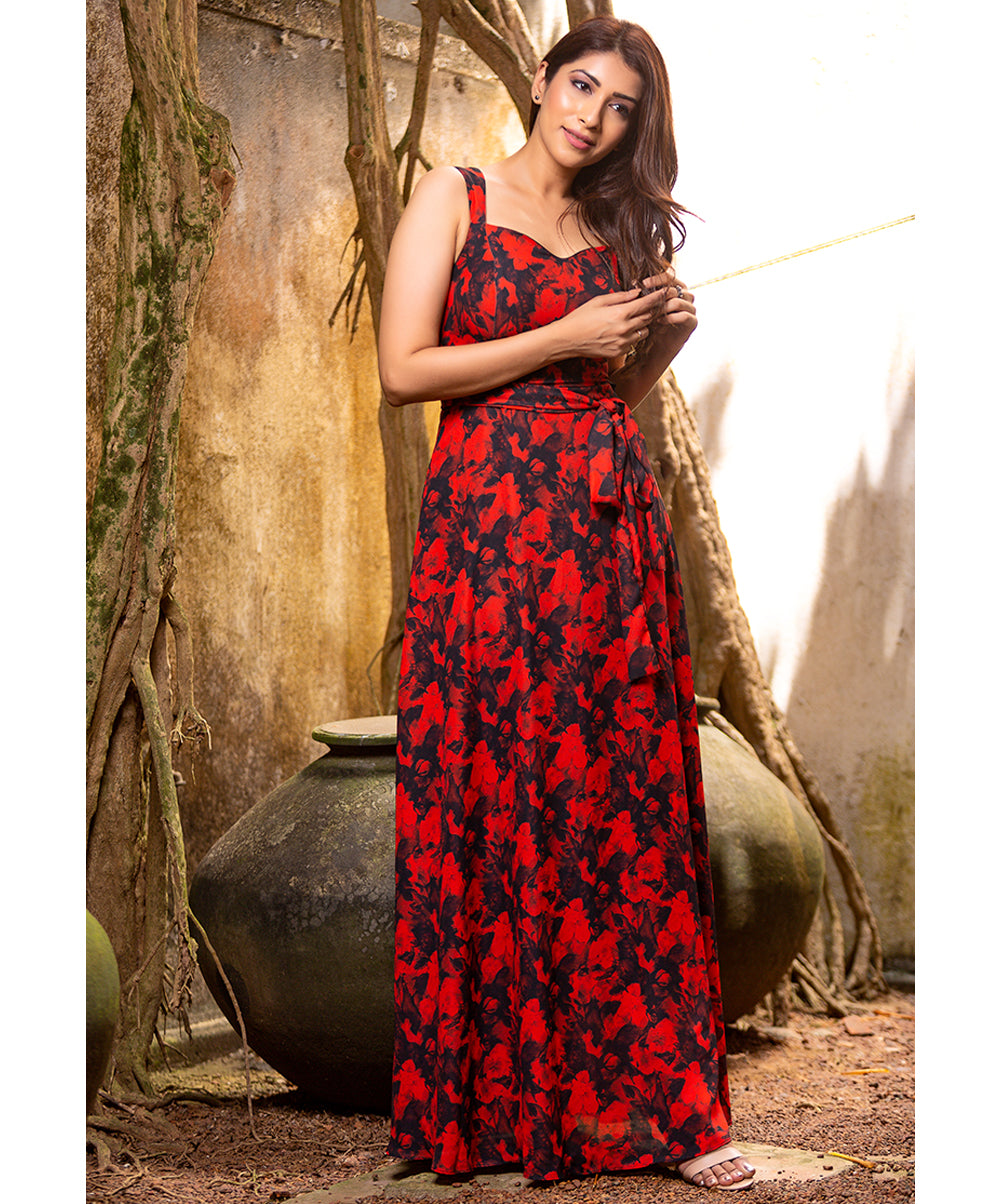 Red Printed Off Shoulder Maxi Dress