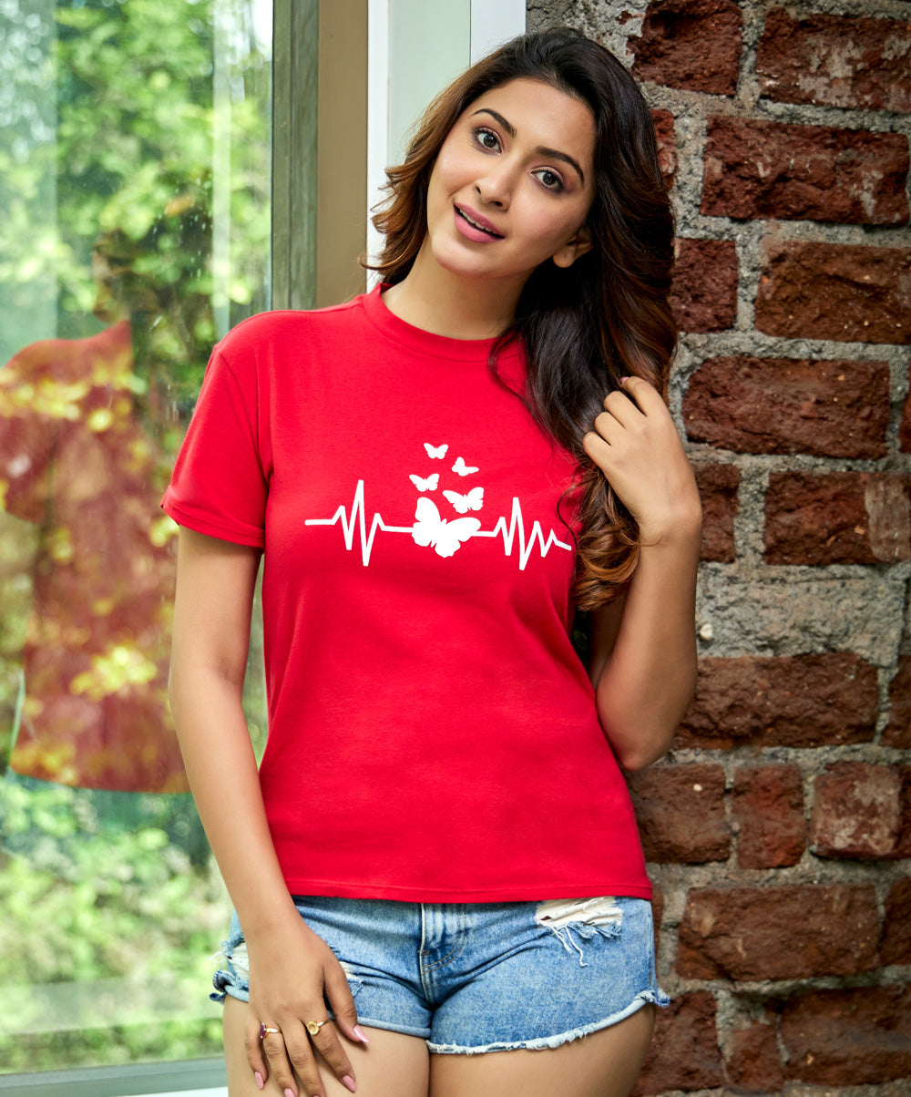 Heart Beat Merged With Butterfly Printed T-Shirt