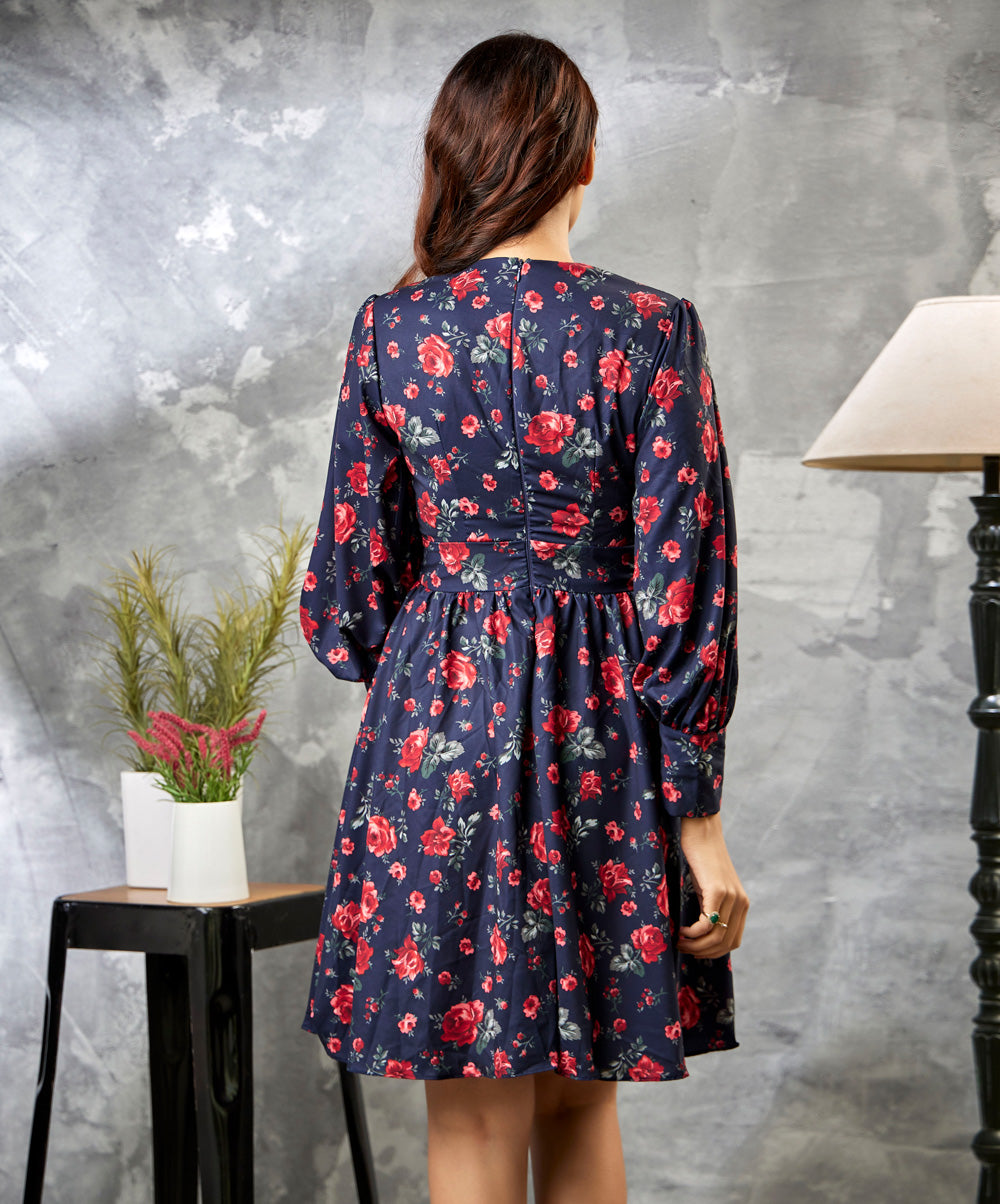 Vneck Floral Long Sleeve Dress