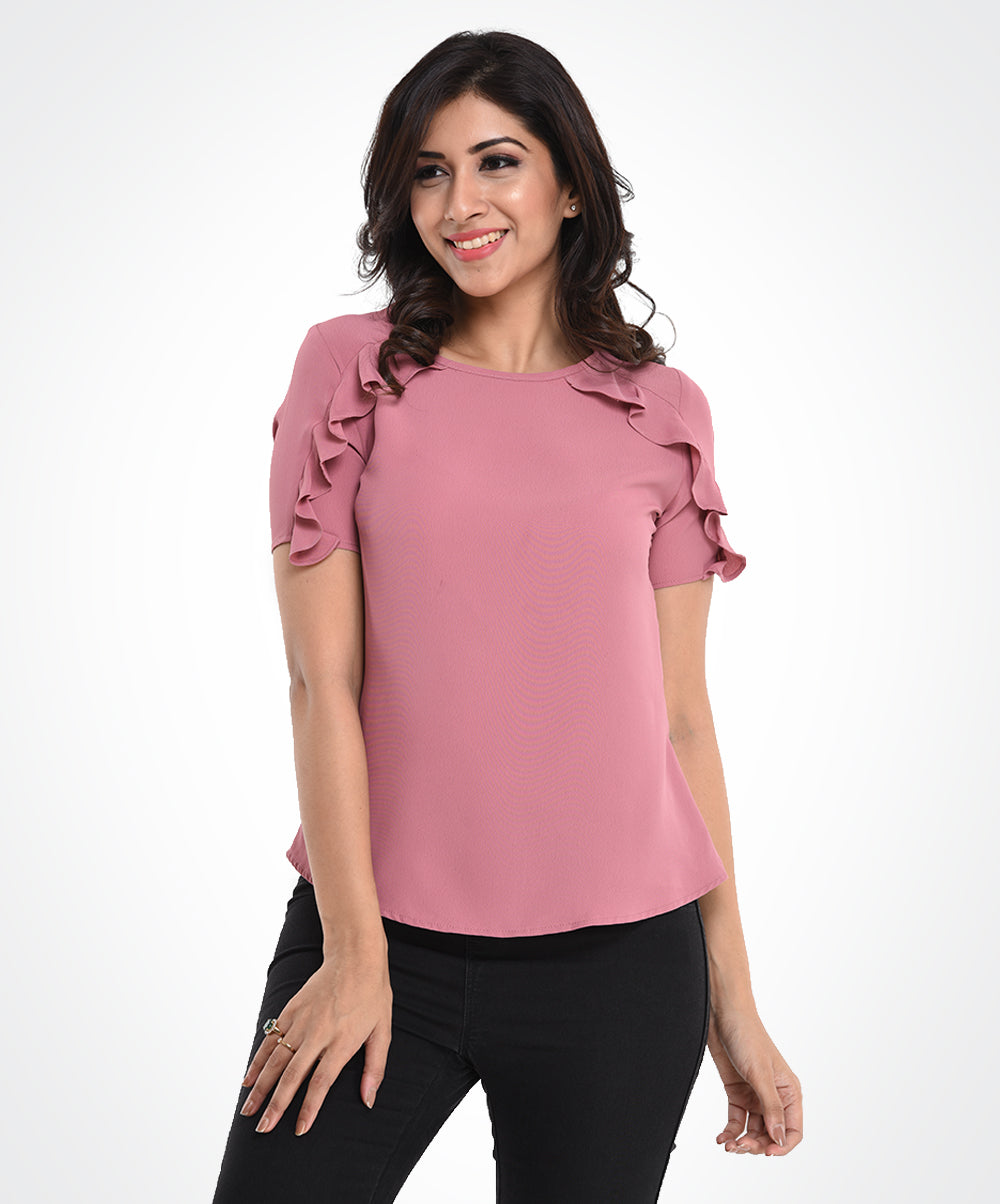 Pink Shoulder Frilled Chiffon Top