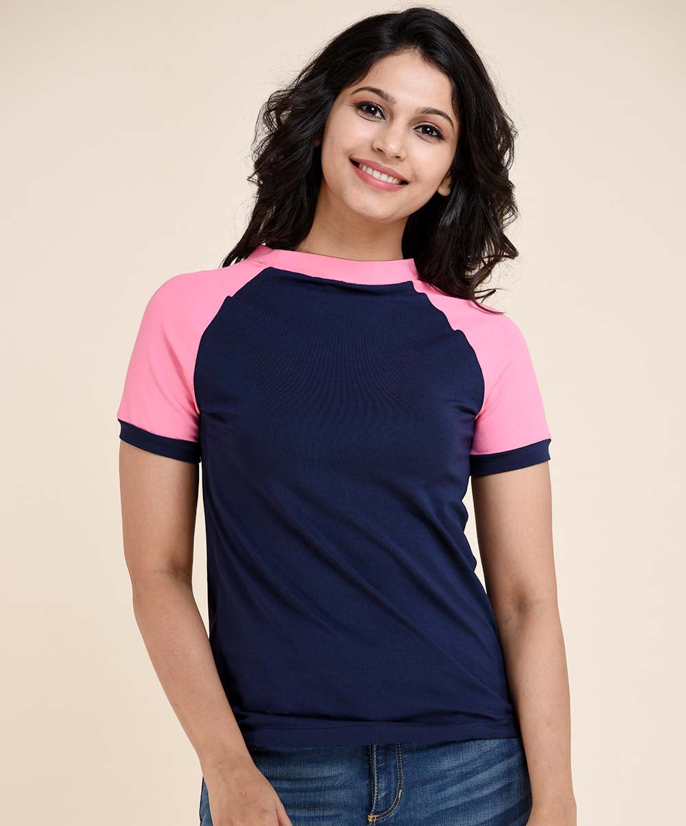 Pink & Navy Blue Casual T-Shirt