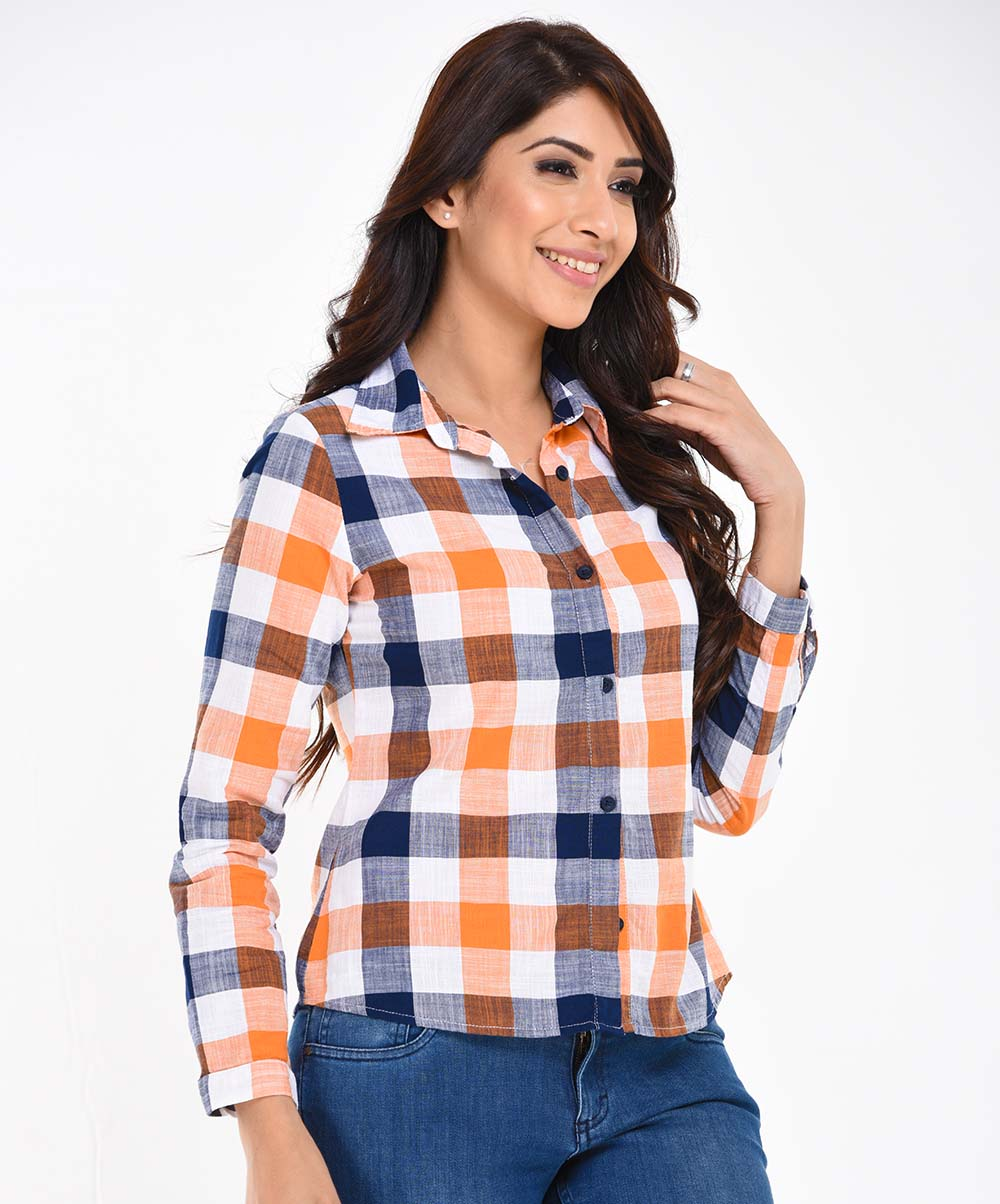 Orange Check printed Shirt