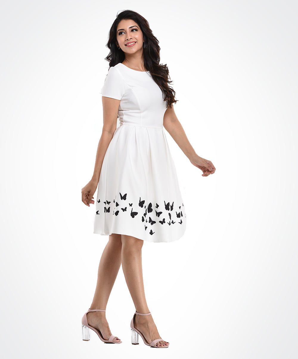 Scuba White Printed Border Dress