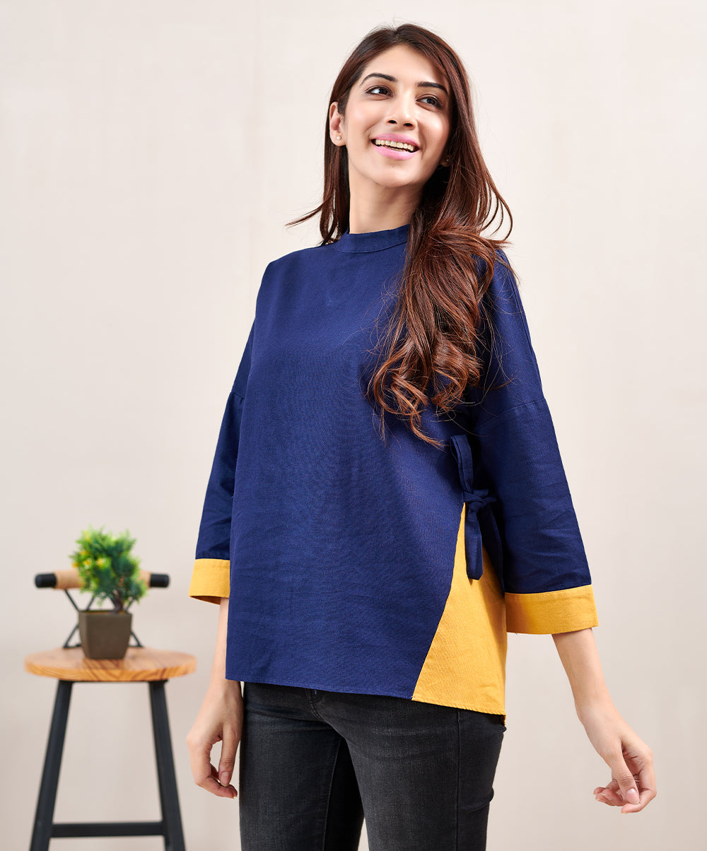 Linen Contrasted Mustard Top