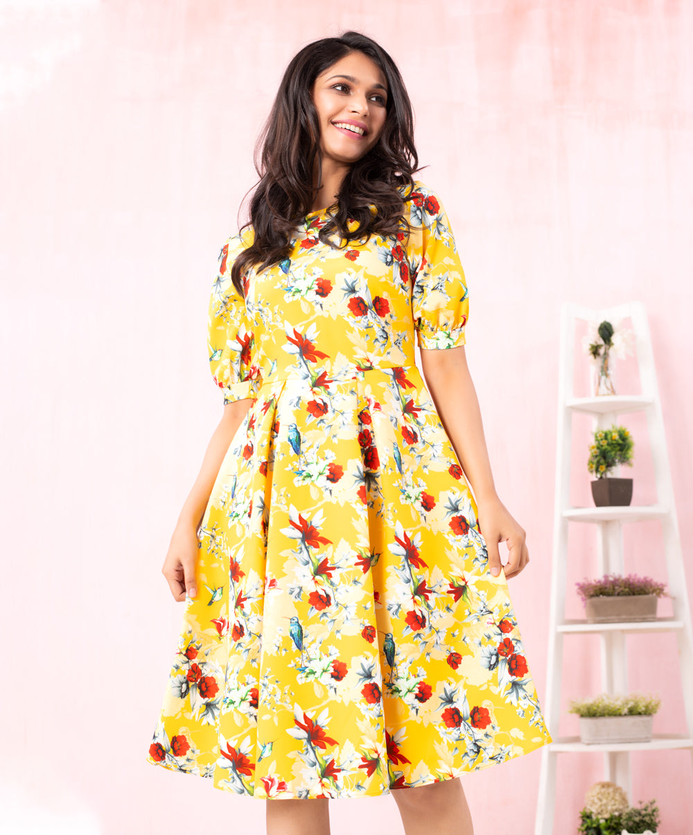 Mustard Bird Printed Midi Dress