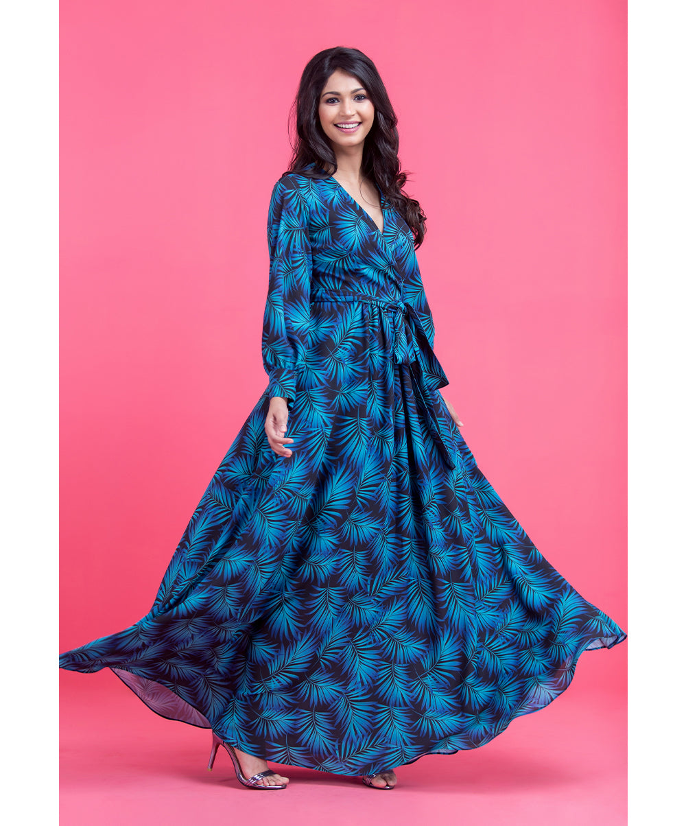 Blue & Black Rheya Printed Overlap Maxi Dress