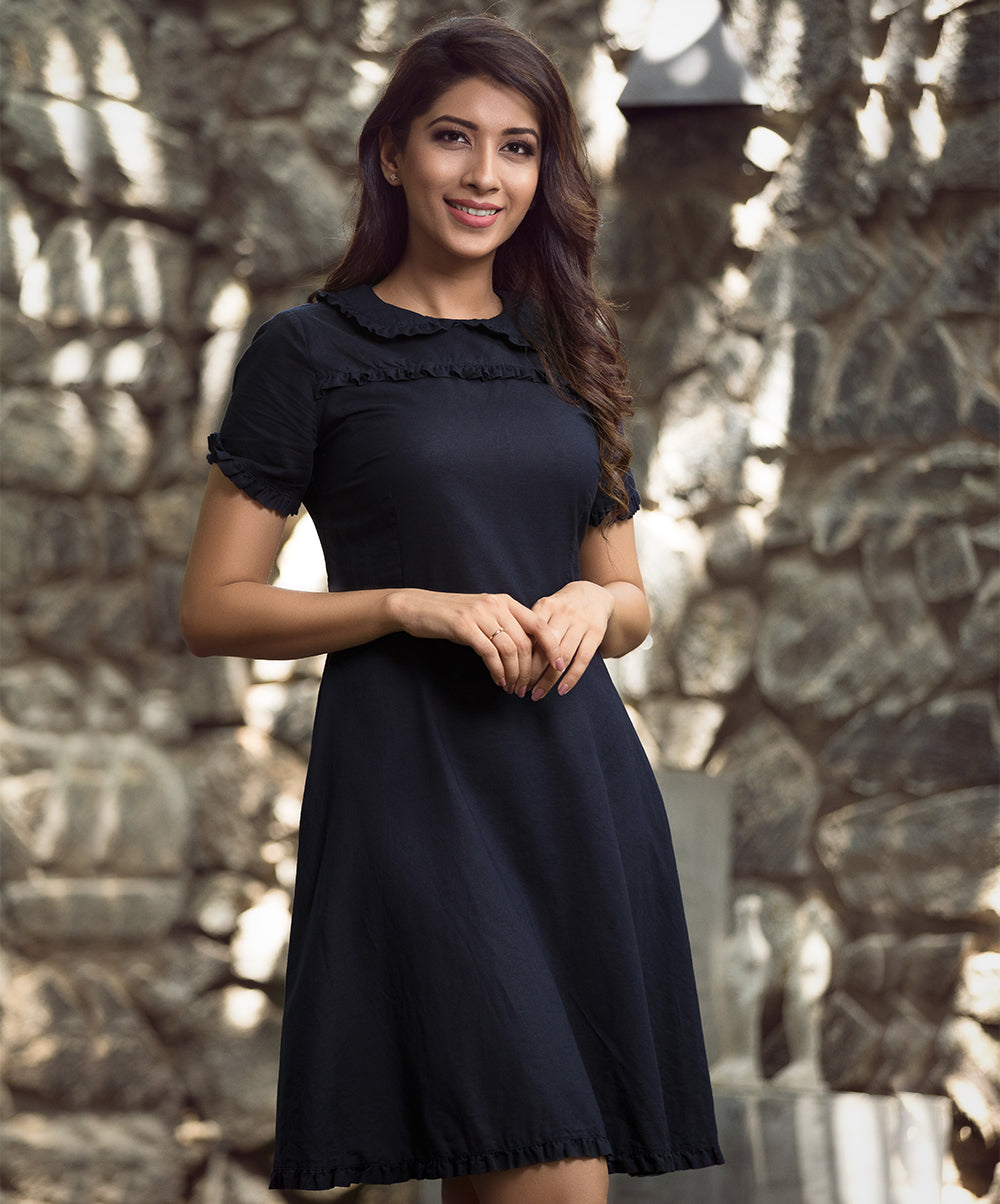 Navy Blue Frilled Detail Collar Dress
